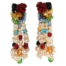 Coppola e Toppo Earrings Italian Red Blue Green Beads Faux Pearls Vintage