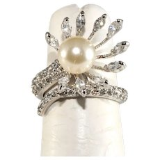 Ring CZ Faux Pearl Wrap Rhodium Plated Size 5.5