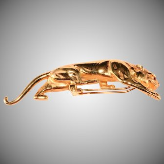 Hattie Carnegie HC Mark Big Cat Panther Puma Brooch Pin Clip Vintage