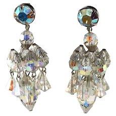 Hattie Carnegie Chandelier Dangle Crystal Earrings Vintage