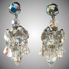Hattie Carnegie Chandelier Dangle Crystal Earrings Vintage