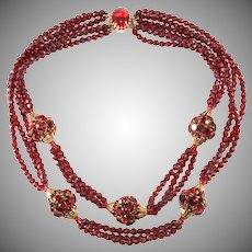 Hattie Carnegie Red Rhinestone Ball and Faux Garnet Bead Necklace Vintage