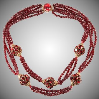 Hattie Carnegie Red Rhinestone Ball and Faux Garnet Bead Necklace Vintage