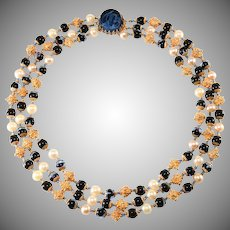 Hattie Carnegie Three Strand Sapphire Blue Faux Pearl Beaded Necklace Vintage