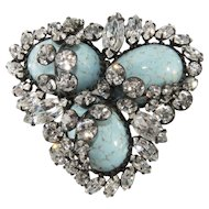Hattie Carnegie Faux Turquoise Cabochon and Rhinestone Brooch Pin