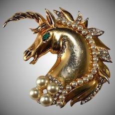 Hattie Carnegie HC Mark Unicorn Faux Pearl & Rhinestone Brooch Pin Clip Vintage