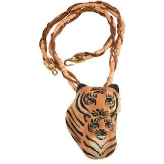 Carol Halmy Necklace Porcelain Tigers Cub Hand Painted Vintage 1980s Big Cat