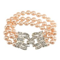Carolee Bracelet Faux Pearls Rhinestone Clasp