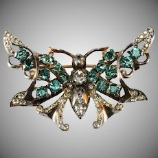 Castlecliff Sterling Silver Rhinestone Butterfly Brooch Pin Vintage 1940s