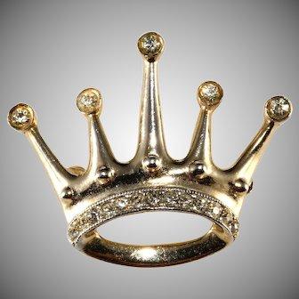 Castlecliff Petite Rhinestone Crown Pin Brooch Vintage