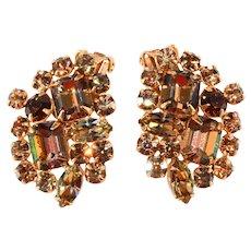 Alice Caviness Light Brown Bi-Color Earrings Vintage