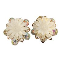 Alice Caviness Earrings Flowers Iridescent Beads Faux Pearls Vintage