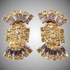 Alice Caviness Lavender and Yellow Rhinestone Earrings Vintage