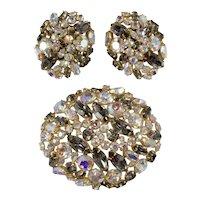 Alice Caviness Brooch Earrings Set Iridescent Aurora Borealis Rhinestone Vintage 1960s Pin