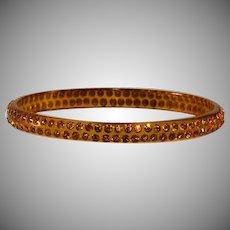 Celluloid Bangle Bracelet Amber Topaz Rhinestones Vintage
