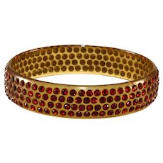 1920s Celluloid Bangle Bracelet Red Rhinestones Vintage