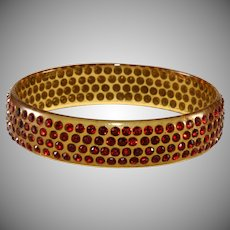 1920s Celluloid Bangle Bracelet Red Rhinestones Vintage