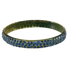 Celluloid Bangle Bracelet Blue Rhinestones Vintage
