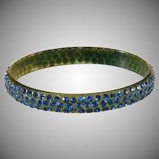 Celluloid Bangle Bracelet Blue Rhinestones Vintage