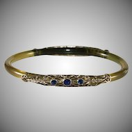 Celluloid Filigree Rhinestone Bangle Bracelet 1920s Vintage