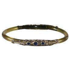 Celluloid Filigree Rhinestone Bangle Bracelet 1920s Vintage