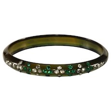 1920s Celluloid Bangle Bracelet Green and Clear Rhinestones Vintage
