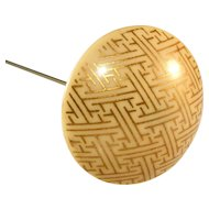 """Celluloid French Ivory 10"""" Hatpin with Gold Geometric Design"""