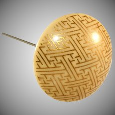 "Celluloid French Ivory 10"" Hatpin with Gold Geometric Design"