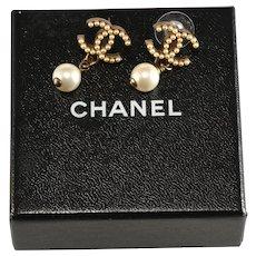 Chanel Earrings Faux Pearls CC Logo Dangles Pierced