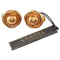 CHANEL CC Logo Swirling Gold Plated Earrings with Original Tag