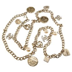 CHANEL Belt Necklace Charms Dice Hearts Clover CC Logo Coco