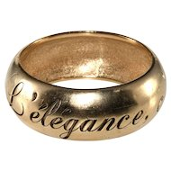 CHANEL Gold Tone L'elegance, c'est la ligne Etched Thick Bangle Bracelet