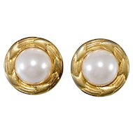 CHANEL 1970s Faux Pearl Round Earrings