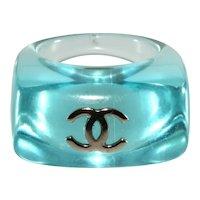 CHANEL Ring CC Logo Blue Plastic Lucite Vintage 1990s Size 6