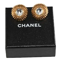 Chanel Earrings Rhinstone Gold Plated 1970s Vintage