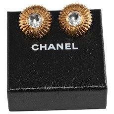 Chanel Earrings Rhinstone Gold Plated 1970s Vintage