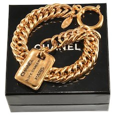 Chanel Bracelet Rue Cambon Tag Charm Gold Colored Vintage