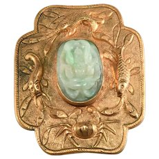 Chinese Export Dress Clip Brooch Carved Jade Fish Crab Vintage