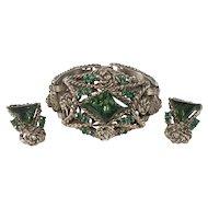 1950s Chunky Green and Gold Rhinestone Bracelet Earrings Set