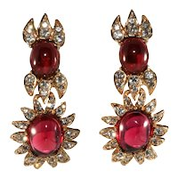 Ciner Earrings Cranberry Red Cabochons Clear Rhinestones Dangles Drops Vintage