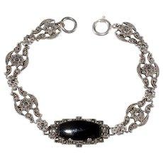 Ciner Bracelet Art Deco Sterling Silver Black Glass Marcasite Designer 1930s Vintage