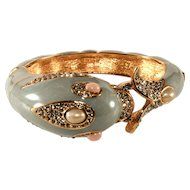 Ciner Enameled Dolphin Clamper Hinged Bangle Bracelet