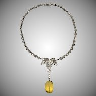 Ciner Deco Style Rhinestone Necklace with Faceted Glass Drop