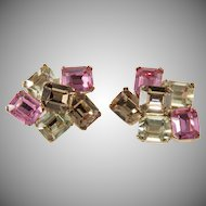 Ciner Earrings with Emerald Cut Pink Rhinestones