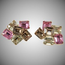 Ciner Earrings with Emerald Cut Pink Rhinestones