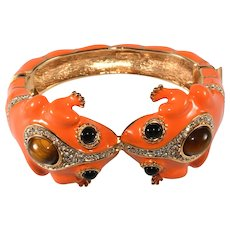 Ciner Twin Frogs Bracelet Orange Enamel Rhinestones