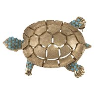 Ciner Gold Plated Turtle Pin Brooch Turquoise Blue Accents