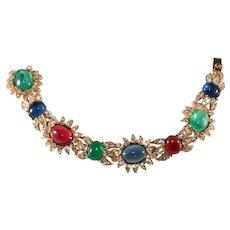 Ciner Jewel Tone Cabochon Rhinestone Bracelet