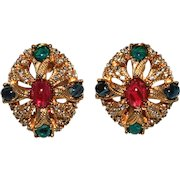 Ciner Earrings with Jewel Tone Cabochons