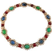 Ciner Jewel Tone Cabochon Rhinestone Necklace